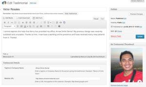 Testimonial Post Edit Screen