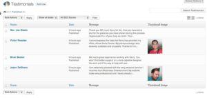 Testimonial Post List Screen