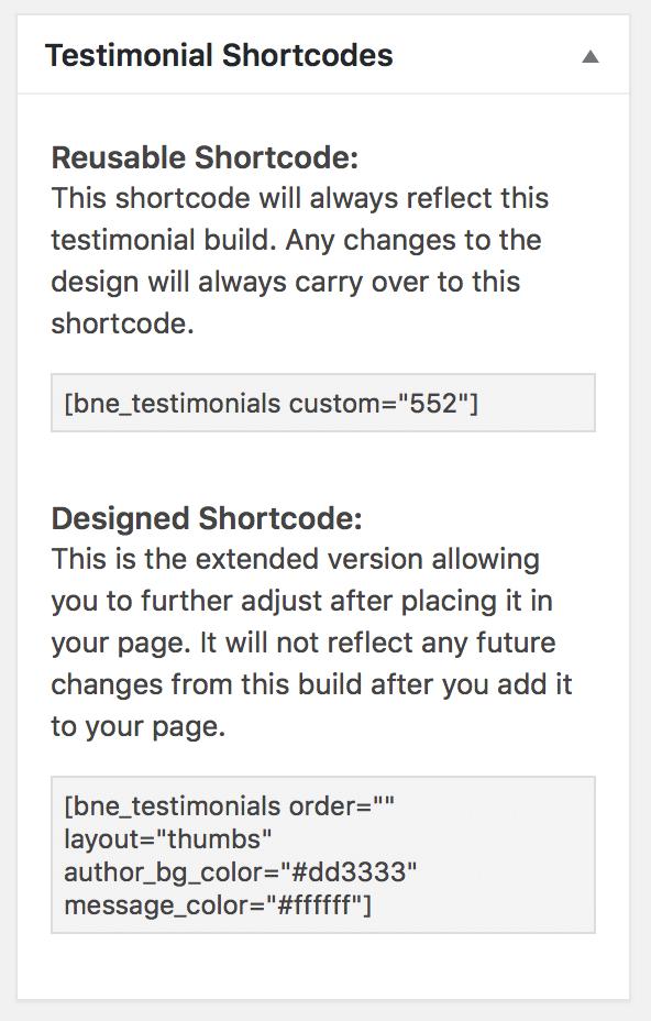 Testimonials Shortcode Generator
